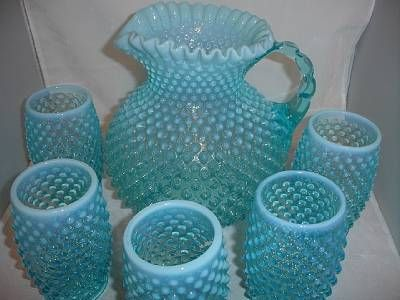 blue hobnail glass | ... about Fenton Blue Opalescent Hobnail Pitcher with Glass Tumblers