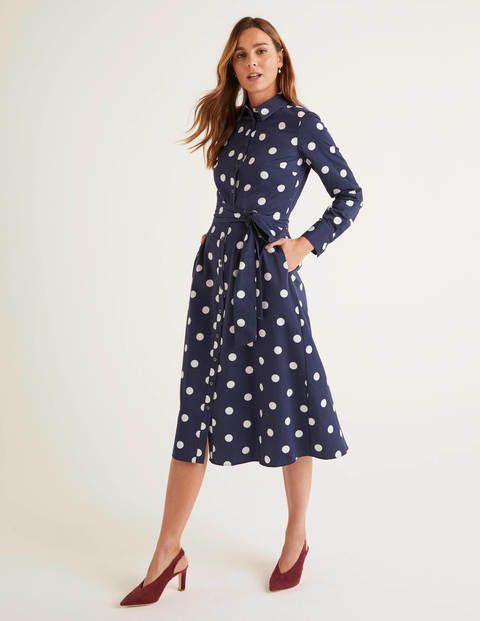 Isodora Midi Shirt Dress French Navy Graphic Spot In 2020 Midi Shirt Dress Shirt Dresses Uk Dresses