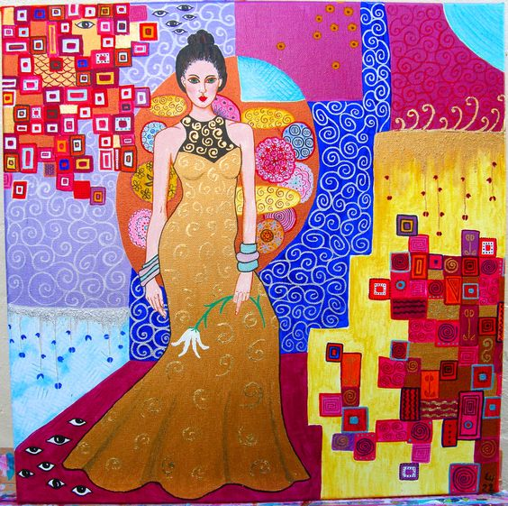 "Heavily influenced by Gustav Klimt (hence all the gold leaf) ""Lady in a Gold Dress"" by Leandra Holder.:"