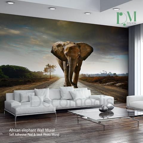 African elephant Wall Mural, Elephant Self Adhesive Peel & Stick Photo Mural, Wild Africa wall decor