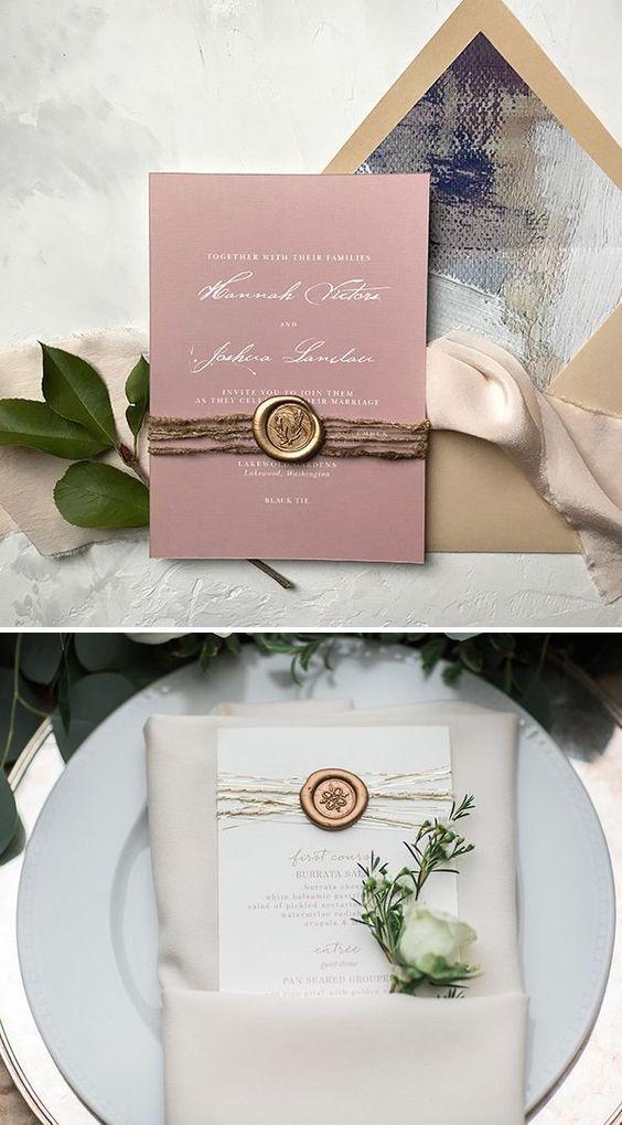 Elegant Mauve Wedding Invitations With