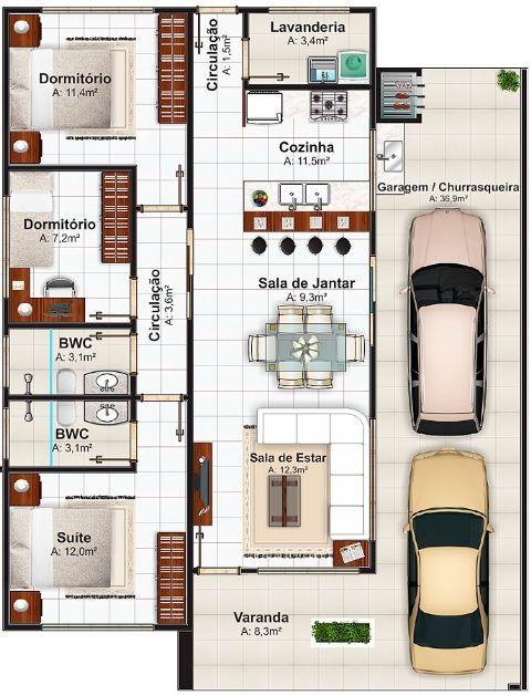 Modelos De Casas De Brasil Con Sus Respectivos Planos 1 Planos De Casas Casas Modernas Casas
