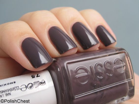 essie - Smokin Hot. It's a dark purple-grey. I applied two coats. And it dried darker than it looks in the bottle. A perfect fall polish.