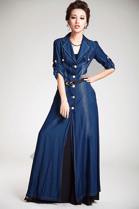 Tall Women's Coats and Jackets | Tencel Silk Long Maxi Denim ...