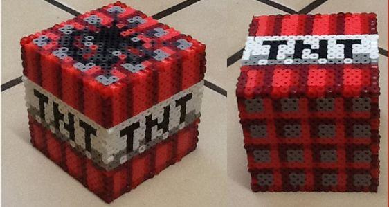 3d perler minecraft tnt cube by werbenjagermanjensen on. Black Bedroom Furniture Sets. Home Design Ideas