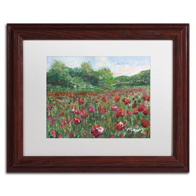 Trademark Art 'Poppy Field Wood' by Manor Shadian Framed Painting Print Size: 1