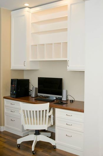 Photo: No room for a large home office? If you have a nook (or closet) in your home adding a small home office is the perfect way to make the space functional and beautiful. This all-white Classy Closets desk brightens up this space beautifully, don't you think? What color would you choose for your home office?   #homeoffice #whitedesk #whitecabinets #homeofficedesign