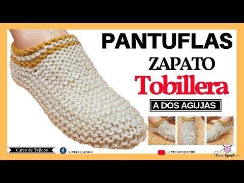 Tejiendo Pantuflas O Zapato Tobillero A Dos Agujas Tejidos A Palillos Youtube Como Tejer Pantuflas Como Tejer Calcetines Zapatos De Ganchillo