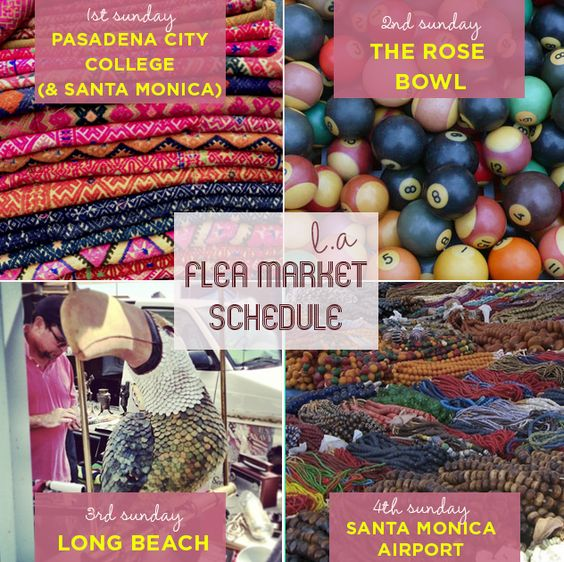 If you want to get your flea on, the first thing you need to learn as a respectable LA resident is the monthly Flea Market calendar. 1st Sunday: Santa Monica Airport & Pasadena City College 2nd Sunday: Rose Bowl 3rd Sunday: Long Beach 4th Sunday: Santa Monica Airport Here's the inside scoop on them all! #losangeles #fleamarket