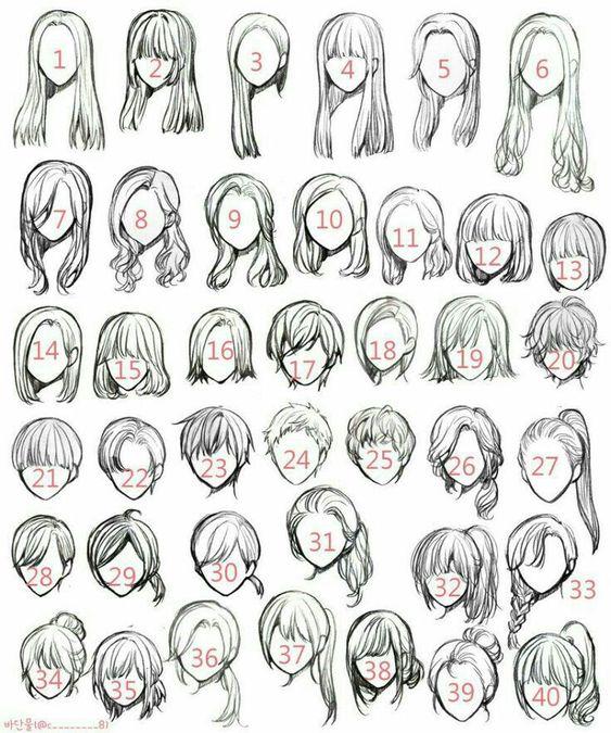 Mais de 30 tipos de cabelos femininos para o seu petsonagem de Anime/mangá