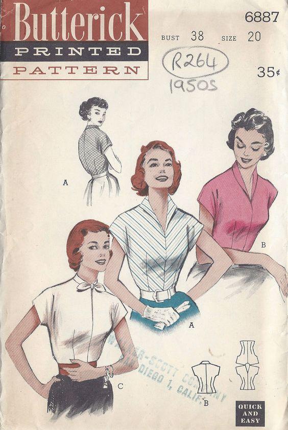 Nähmuster 1950er Vintage Bluse B38 (R264)
