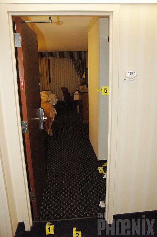 Philip Markoff |  Boston Police took these photos of the murder scene, a hotel room at the Copley Marriott in Boston,  on April 14, 2009. The victim, Julissa Brisman, was hit in the head and shot three times by BU Med  Student Philip Markoff during a robbery gone wrong.