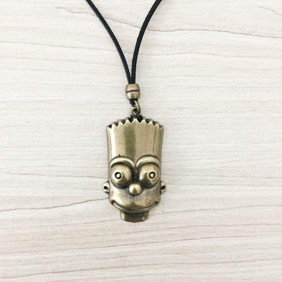 Colar Masculino Couro Mascara Bart Simpson mens necklace style cocar brasil