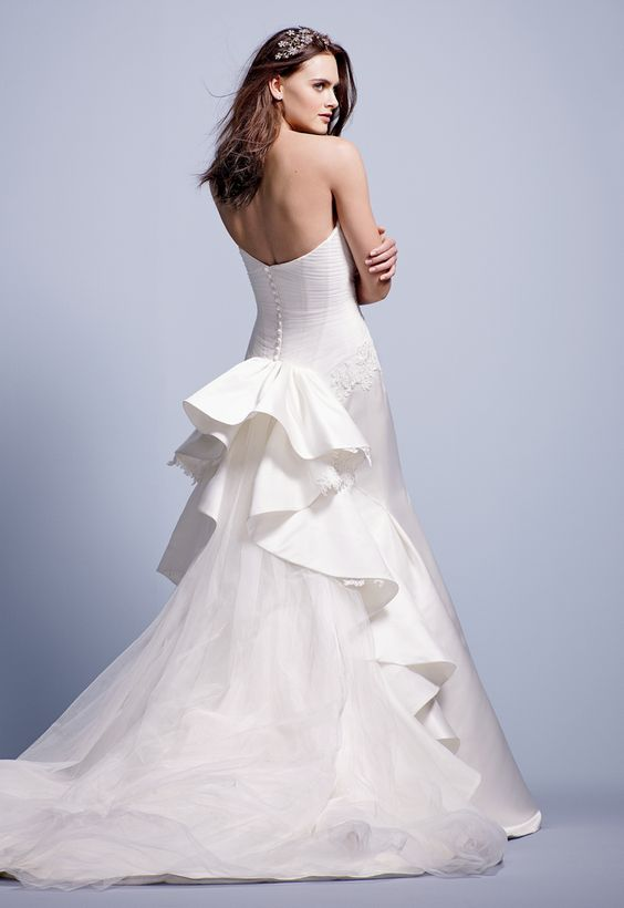 Truly Zac Posen Strapless Duchess Satin Fit and Flare Gown Style ZP345004 #davidsbridal #weddingdress #blacktiewedding