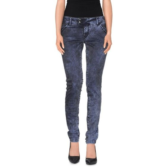 Met Denim Trousers ($120) ❤ liked on Polyvore featuring pants, blue, slim pants, slim fit trousers, blue denim pants, zipper pants and denim pants