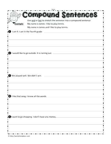 Image Result For Free Compound Sentence Worksheets Writing Worksheets Writing Prompts 2nd Grade 6th Grade Writing Compound sentences worksheet 4th grade