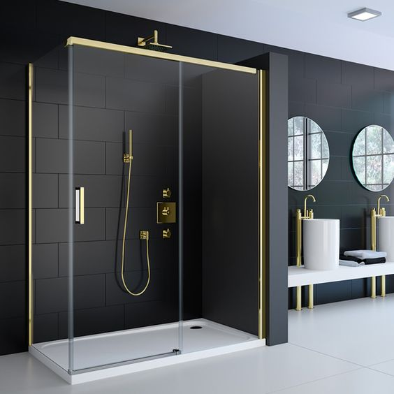 Buy Merlyn 8 Series Colour Gold Sliding Shower Door 1200mm Wide 8mm Glass Online Shower Doors Gold Shower Door