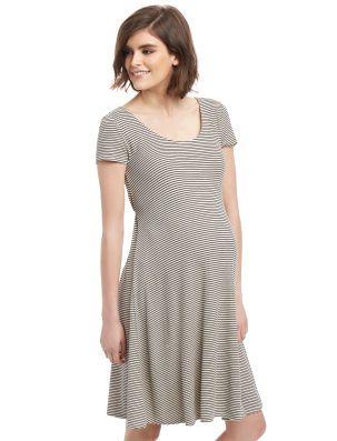 Rib Knit Fit And Flare Maternity Dress