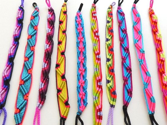 Friendship Bracelets Colorful Neon Tribal