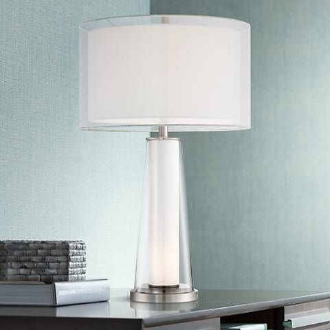 Bruno Clear Glass With Frosted Inner Nightlight Table Lamp 16x61 Lamps Plus Clear Glass Table Lamp Table Lamp Lamp