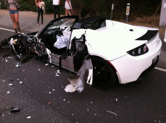 Mike Maloney in Horrible Car Crash with Tesla | GoldSilver.com: Tesla Goldsilver, Crashed Exotics, Tesla Roadster, Furious Muscle Cars, Luxury Cars, Car Crash, Horrible Car