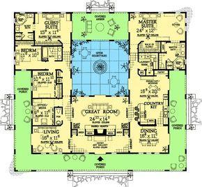 Plan 81384w Open Courtyard Dream Home Plan In 2021 Pool House Plans Mediterranean House Plans Courtyard House Plans