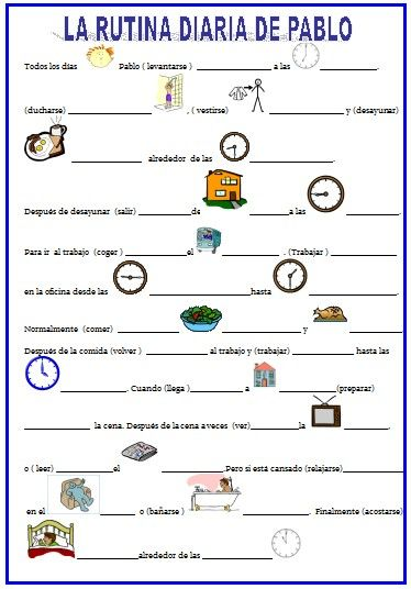 Worksheet La Hora Worksheet google ejercicio and worksheets on pinterest la rutina diaria verbos reflexivos hora para inmigrantes