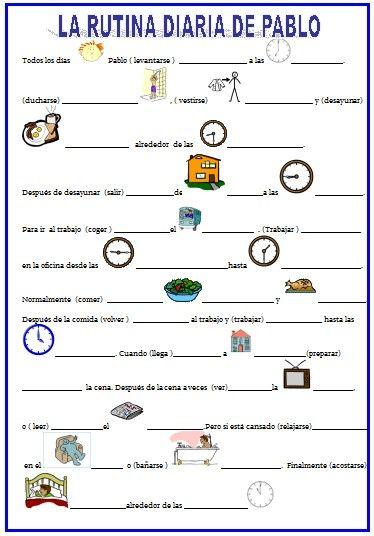 Worksheet La Hora Worksheet google ejercicio and worksheets on pinterest la rutina diaria verbos reflexivos hora para inmigrantes