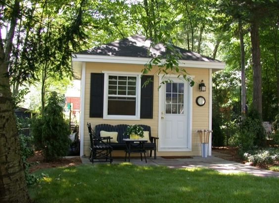 Adorable shed bench shutter and door outdoor spaces for Build a small guest house backyard