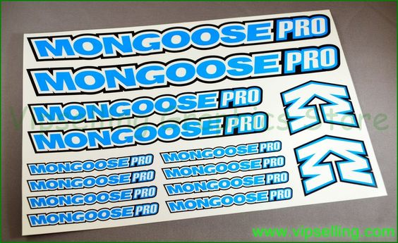 Mongoose Pro BMX Bike Frame Fork Cycle Decals Stickers Set
