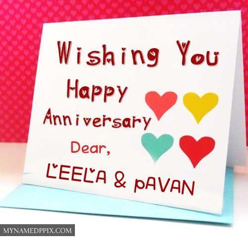 Wishing U Happy Anniversary Dear Name Write Greeting Cards Happy