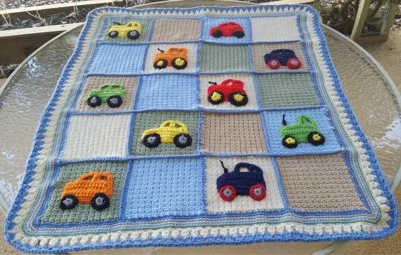 Crochet baby blanket, car applique blanket, tractor ...