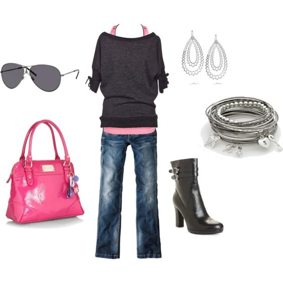 pink & gray, created by andrea-mitsdarffer-garner on Polyvore