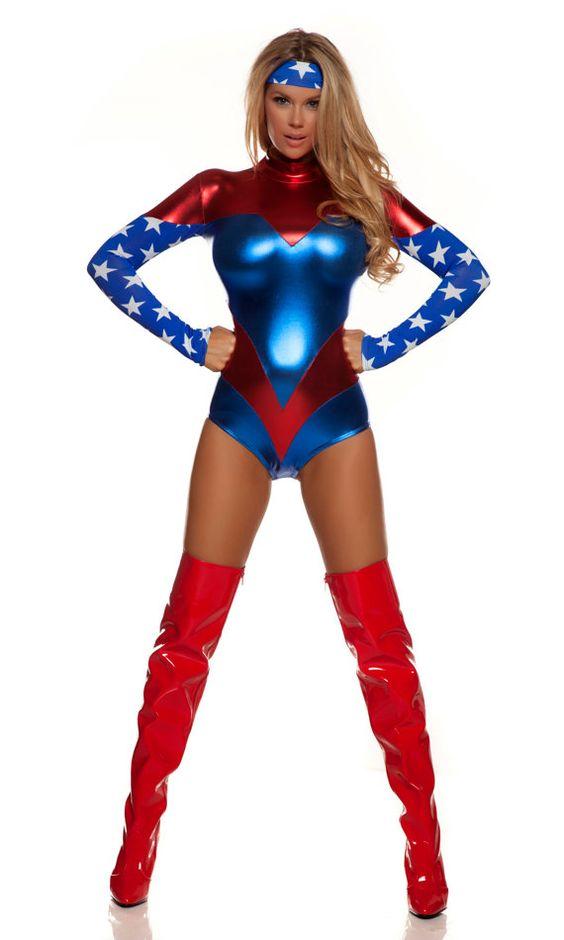 Sexy superhero costume includes tricolor metallic bodysuit with star