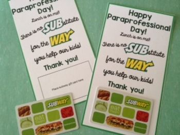 Paraprofessional Day is Nov. 18th. Recognize your paras for all that they do by treating them to lunch! Use these cute cards to spice up your gift card and express your thanks. :)