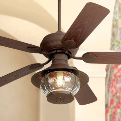 This Lantern Style Ceiling Fan Looks Great In Any Rustic Setting