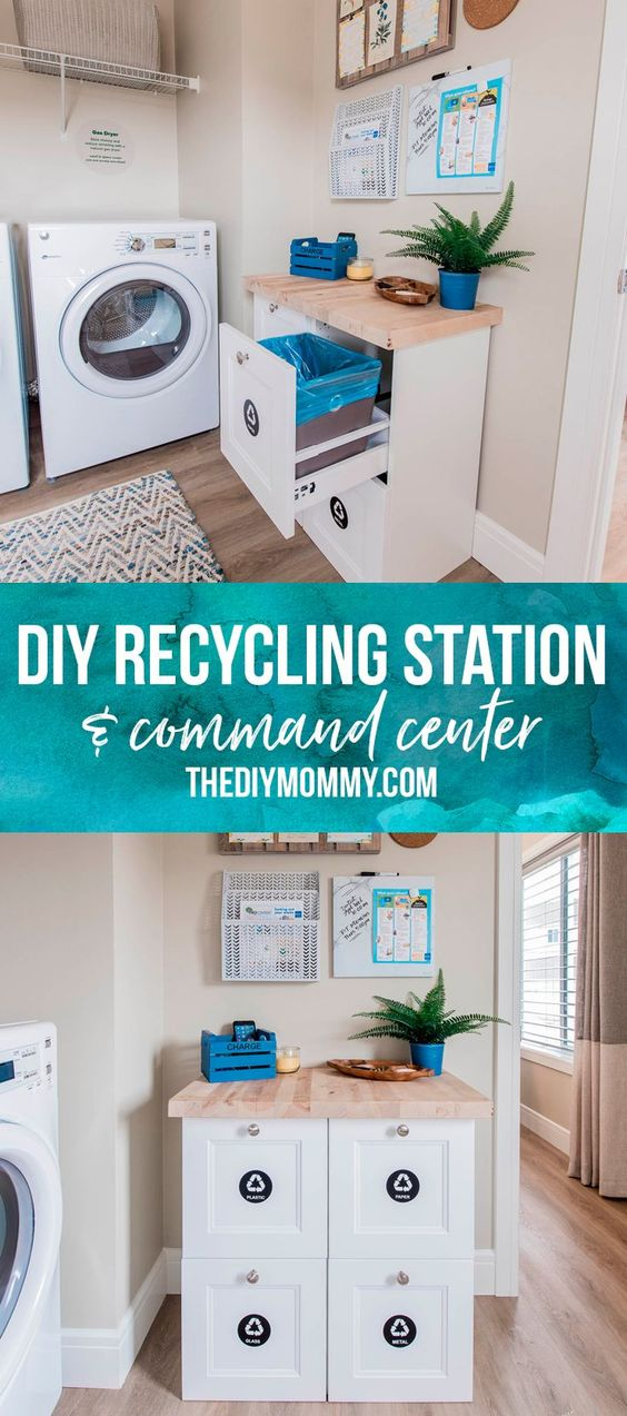 Great idea! Build an organized home recycling station in your mud room / laundry room with Ikea kitchen cabinets with a family command center above.