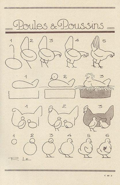 Como dibujar gallinas y pollitos: