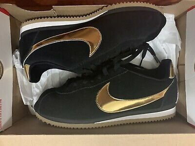 buy \u003e nike black and gold cortez suede