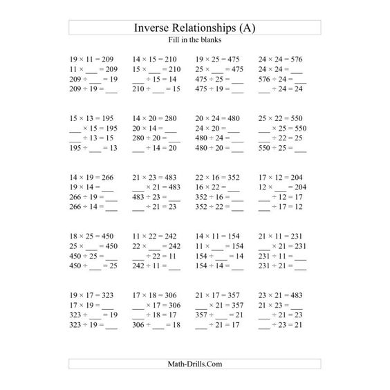 Algebra, Algebra worksheets and Multiplication and division on ...Algebra Worksheet -- Inverse Relationships -- Multiplication and Division All Inverse Relationships --