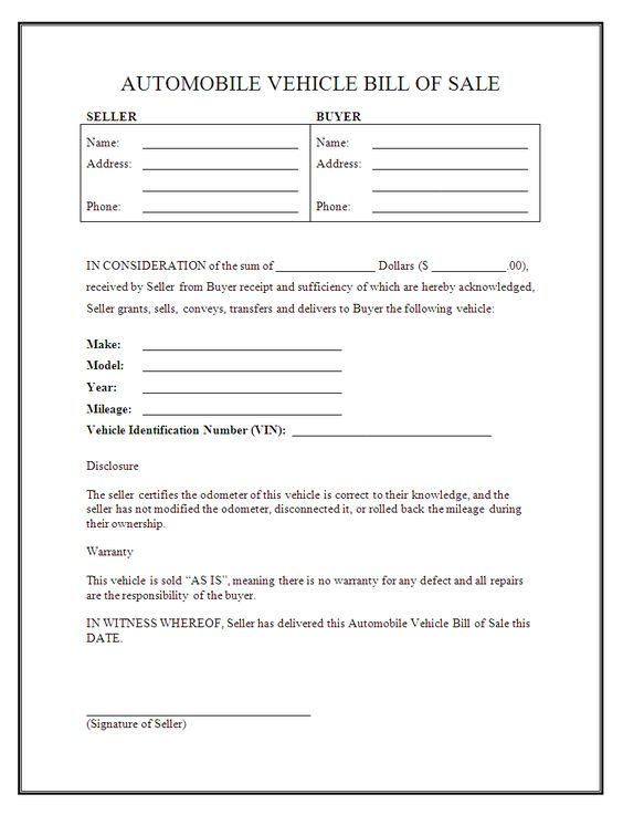 Free Printable Rv Bill of Sale Form Form (GENERIC) Sample - auto bill of sale template