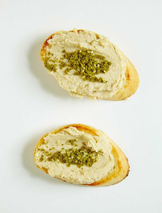 Hummus and Zaatar Crostini.
