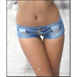 1222 Golden buckle Denim Ultra Low Rise stone wash Denim shorts ...
