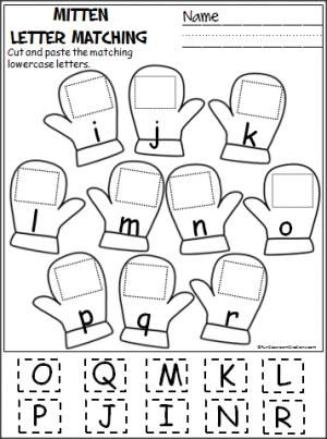 printable and lowercase letter matching band free cut and paste letter matching activity for winter i 633