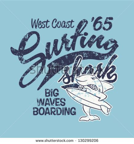 Surfing Shark - Print for boy apparel in custom colors - grunge effect in separate layer - stock vector