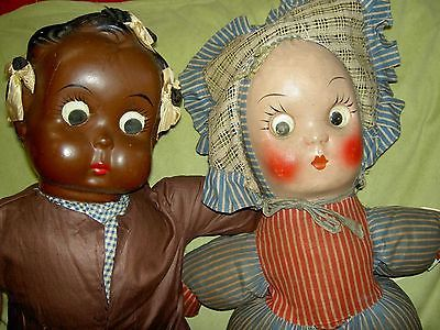 "Delightful, 23"" antique black ""googly"" eye compo. & cloth doll by Freundlich USA"