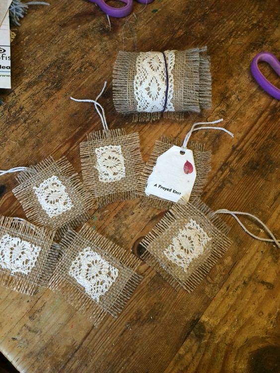 Gift trim and tags from leftover burlap and cotton lace