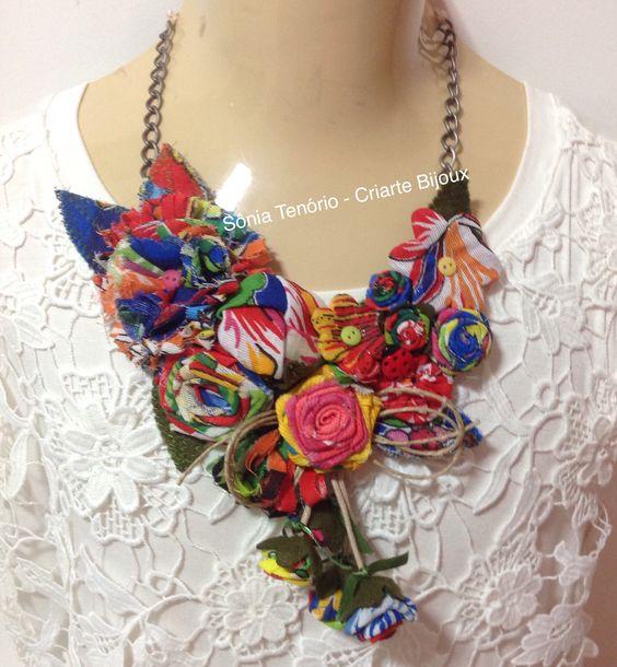 Maxi colar de chita: visite: www.elo7.com.br/criartebijoux
