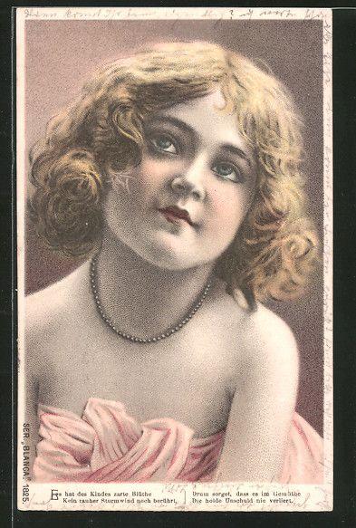 old postcard: Präge-Lithographie Blanca, Es hat des Kindes zarte Blühte..., Mädchen mit Perlenkette
