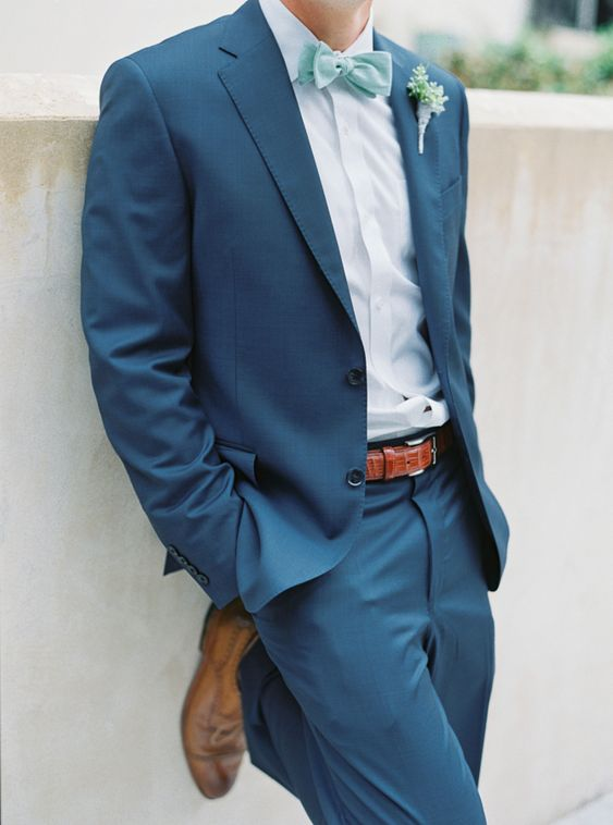 Beachy navy + seafoam blue groom's attire: http://www.stylemepretty.com/2016/01/25/seafoam-blue-santa-rosa-beach-wedding/ | Photography: Jennifer Blair - http://jenniferblairphotography.com/: